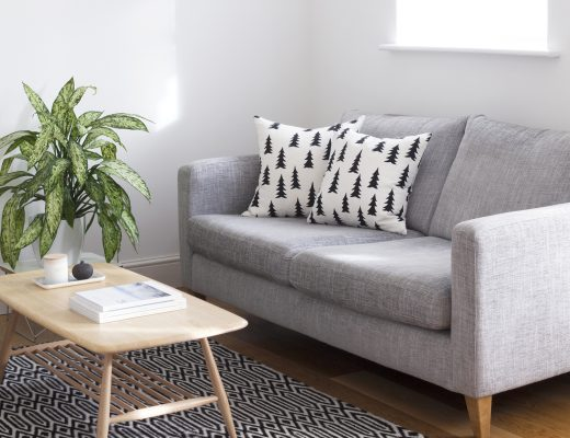 How to Organise your Schedule, Surroundings and Digital Life | Natasha Denness Coaching | natashadenness.co.uk (Photo of a living room with a grey sofa)